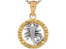 10k or 14k Two Tone Real Gold 1.8cm Zodiac Scorpio Birthday Girls Charm Pendant