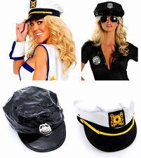 Women Captain Skipper Sailor Hats Cop Party Police Hat Cap Costume Adult Size