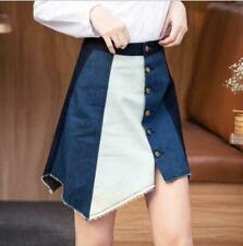 Womens Ladies Fashion Denim Multicolour Buttons Irregular A-Line Short Skirt