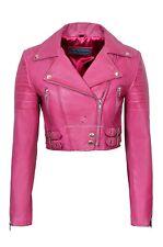 Ladies Leather Jacket Pink Lambskin Slim Fit Short Body Biker Style Jacket 5625