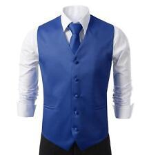 NEW Mens Royalblue Dress Vest and Neck Tie Set, All sizes(S~3XL)