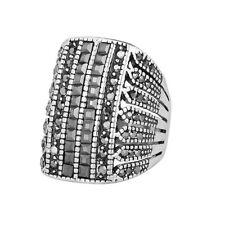 Grey Diamond Black Rhinestone Men Women Unisex Hand Ring Small Large XL FR290