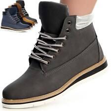 Damen Stiefeletten Booties Worker Boots Halb Stiefel Metallic Keilabsatz