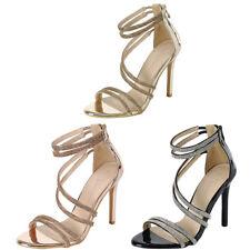 Jeweled Rhinestone Elastic Strappy Open Toe Dress Pump Sandal Stiletto High Heel