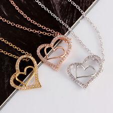 Gold  Anhänger mit 32 Rose Gelb  Zirkonia Halskette Kette Damen Herz Liebe