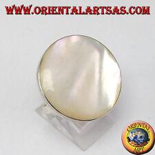 Anillo d'plata regulable con madre perla redondo