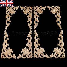 UK Stock Wood Carved Corner Onlay Applique Door Frame Decor Unpainted 20x10cm