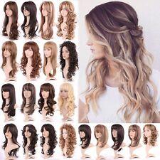 Impressive Ladies Long Wig Black Brown Blonde Natural Curly Straight Full Wigs #