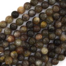 "Black Gray Sunstone Round Beads Gemstone 15"" Strand 4mm 6mm 8mm 10mm 12mm"