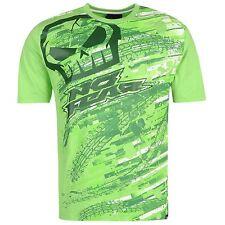 Da Uomo No Fear Verde Motocross MX Moto Da Cross Teschio Logo Tee Shirt T-Shirt Top