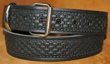 Noir basketweave ceinture fait main UK estampé véritable cuir pleine fleur 38mm XL XXL