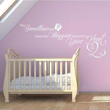 Bebé Footprints Corazón Amor Infantil Dormitorio Pegatina Pared Arte wsd399