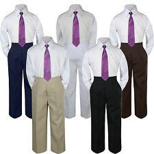 3pc Boys Suit Set Eggplant Necktie Baby Toddlers Kids Formal Shirt Pants S-7