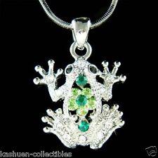 w Swarovski Crystal Toad ~Green FROG~ Jewelry Charm Pendant Chain Necklace Xmas