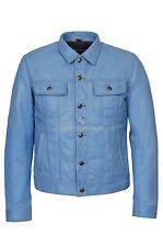 Mens Trucker Leather Jacket Blue Crust Napa Western Fashion Casual Jacket 1280