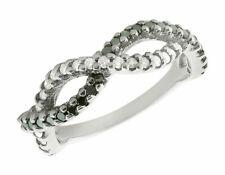 0.85Ct Round Black & White Diamond Infinity Wedding Band Ring 18K Gold