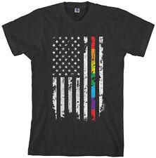Threadrock Men's Gay Pride Rainbow American Flag T-shirt