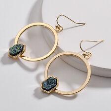 Women's Hoop Drop Earrings with Oval Hexagon Platinum Druzy Inlay Design