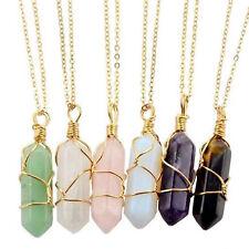 Natural Stone Pendant Bracelet Set Gemstone Crystal Quartz Healing Necklace Gift