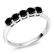 0.50 Ct Round Black Diamond 10K White Gold 5 Stone Anniversary Band Ring