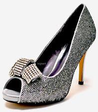 New women's shoes rhinestones stilettos peep toe party prom wedding silver EU39