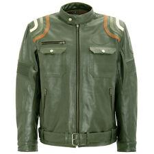 King queroseno motocicleta chaqueta de cuero Biker chaqueta-Racer Stripes verde oliva