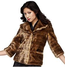 Luxe Rachel Zoe Faux Mink Jacket 3/4 Pockets Lined Honey Ranch M NEW A217292