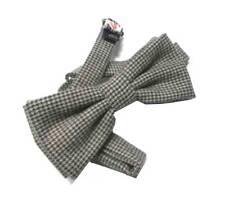 Papillon uomo a quadri mini pied de poule lana wool marrone beige grigio classe
