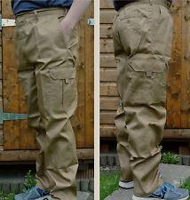 KHAKI LADIES OR MENS CARGO ELASTICATED TROUSER WALKING COMBAT POCKET UNISEX PANT