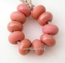 FLAMINGO PINK * donut handmade lampwork glass spacer beads TANERES sra