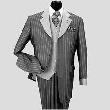 Men's 3 Piece Classic Gangster Pinstripe Wool Feel Suit w/ Vest 2911 Black