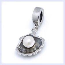 STR Silver Sea Shell Pearl Dangle Ocean Focal Bead f/ European Charm Bracelet