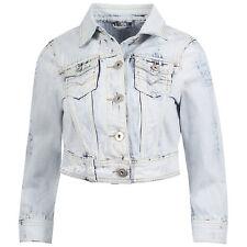 Womens Pale Wash Cropped Denim Jacket 6 8 10 12 14 16 100% Cotton