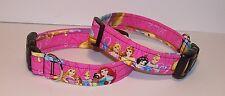 Wet Nose Designs Disney Princess Dog Collar on Pink Belle Ariel Cinderella Tiana