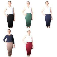 Pencil Skirt Slip On Womens Textured Elasticated Waist Ladies Clothes