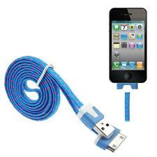 Azul Trenzado USB Data Sync Cargador Cable para iPhone 4 4S 3G 3GS iPad 2 iPod