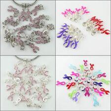 10pcs Czech Crystal Enamel Ribbon Breast Cancer Awareness European Charm Beads