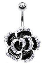 TITANIUM Bar - Large Black Flower - Clear Crystals Length:6mm 8mm 10mm 12mm 14mm