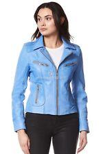 RIDER Ladies Blue Crust Biker Motorcycle Style Real Italian Leather Jacket 9823