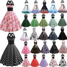 Da Donna Rockabilly 50er 60er con allacciatura al collo Hepburn Petticoat VESTIT...