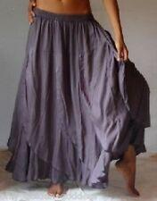 gray skirt maxi -M L XL OS 1X 2X 3X 4X 5X 6X  plus bias ruffled flounce elastic