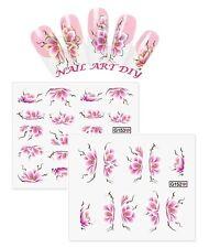 Nail Art Water Transfer Stickers-Fiori con/senza Profilo d'ORO/ARGENTO Metallico