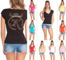 Koucla Shirt Top T-Shirt mit Strass, Nieten und Schleife