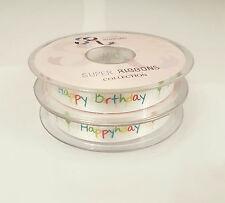 2M or Full Reel (20M) x 16mm SR Happy Birthday Grosgrain Satin - Natural Ribbon
