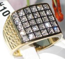 TK734PB 30 da Uomo di Pietra Anello con sigillo Quadrato LAMINATO ORO 18KT Diamante simulato
