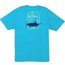 Guy Harvey Men's Barrel Logo Short Sleeve Fishing T-shirt..Pick Size..Reef Blue