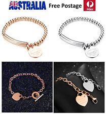 Titanium Stainless Steel Polished Designer Bracelet Heart Bead *Free Pouch* SG22