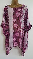 NEW Plus Size 16-32 Batwing Floral Striped Print Chiffon Top Blouse Purple Pink