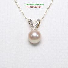 14k Yellow Gold Rabbit-Ear Bail; Diamonds & AAA Pink Cultured Pearl Pendant TPJ