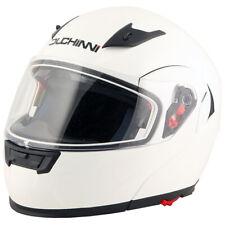 Duchinni D606 Flip Front Motorcycle Helmet With Sun Visor  - White